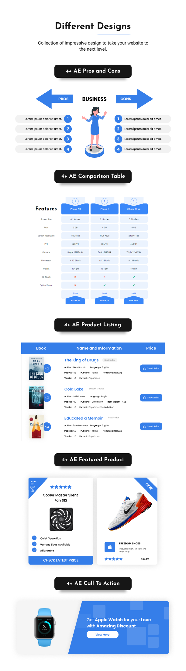 Different Designs of Affiliate Elements for Elementor