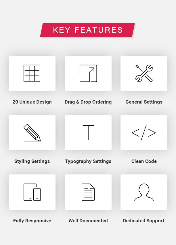 Caractéristiques principales-carte Elements Pro pour Elementor