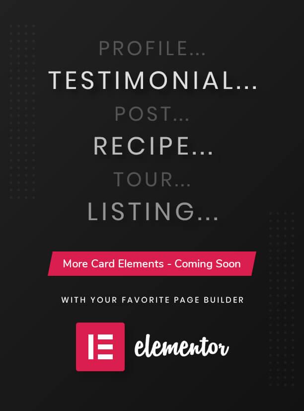 Plus d'éléments de carte prochainement-carte Elements Pro pour Elementor