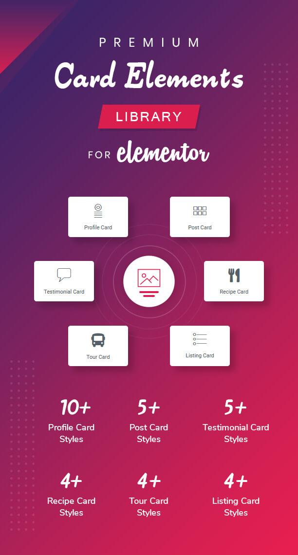 Bibliothèque d'éléments de carte Premium pour Elementor