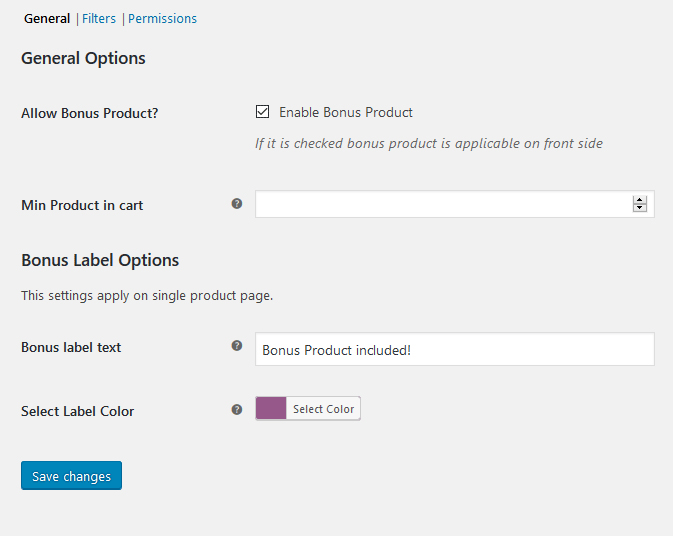 General Settings - Bonus Product for WooCommerce