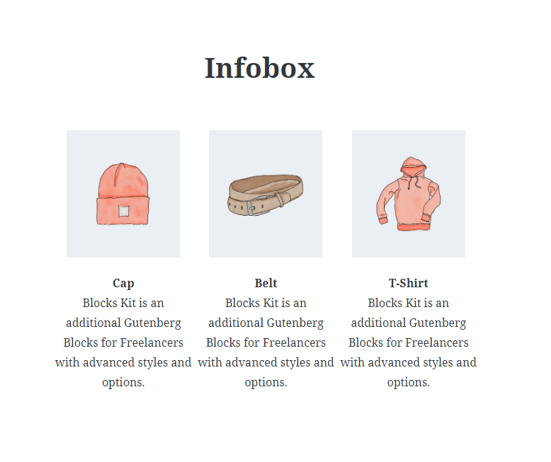 Info box Block - Frontend Preview