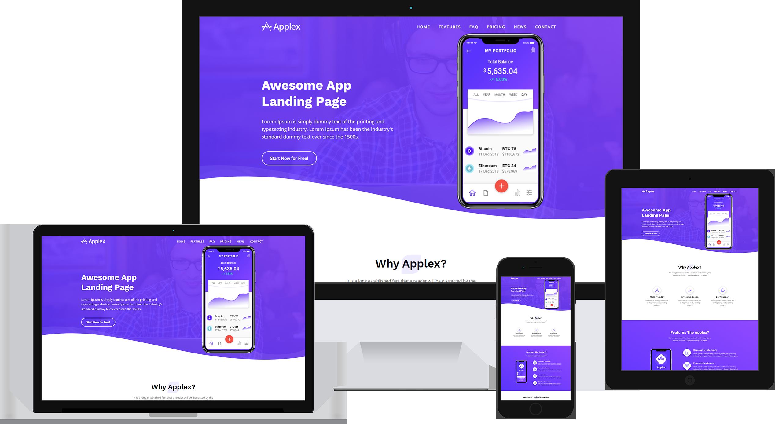 Applex - App Landing Page HTML Template Banner