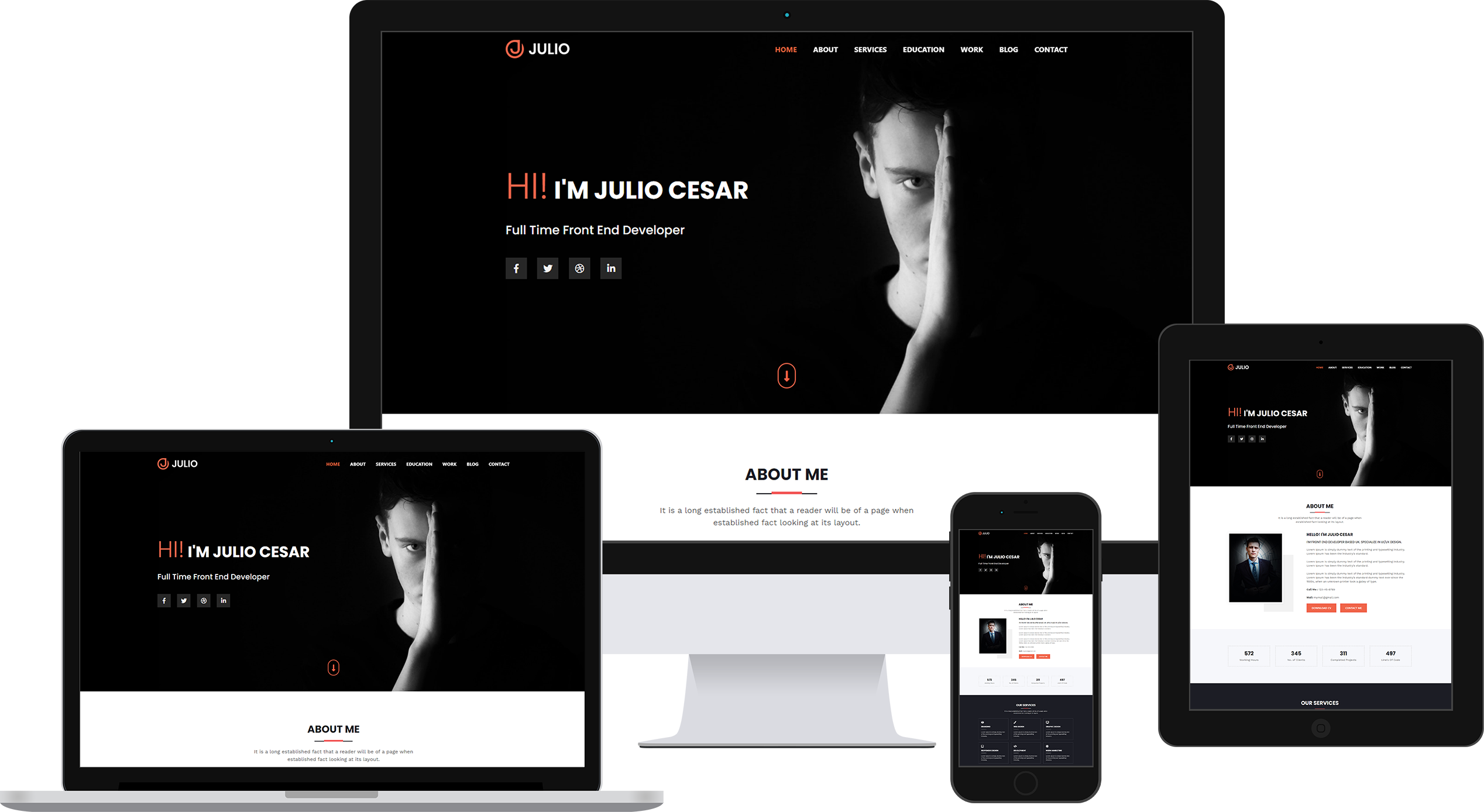 Julio Portfolio Page HTML Template Product Banner